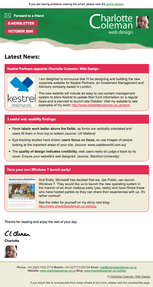 Our October Email Newsletter
