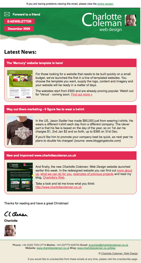 Our December Email Newsletter