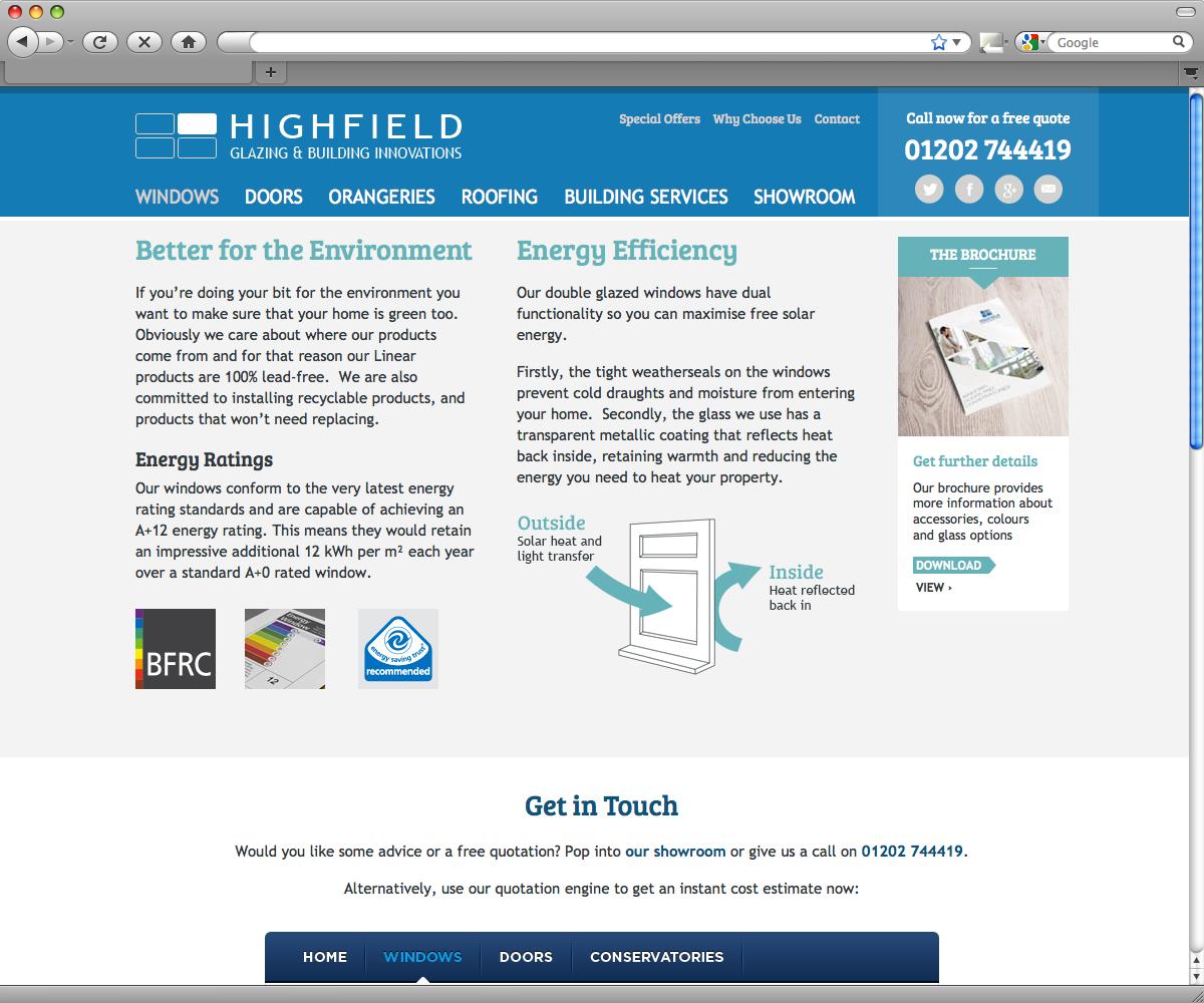 Highfield Double Glazing - Web Design Poole, Bournemouth, Dorset