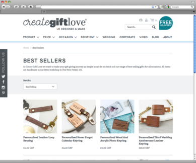 Create Gift Love - product list page